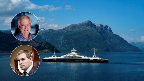 Fjord1-ferge på strekningen Anda-Lote i Nordfjord, som er Norges første helelektriske fergesamband. Innfelt: Per Sævik (øverst) og Fredrik W. Mohn.