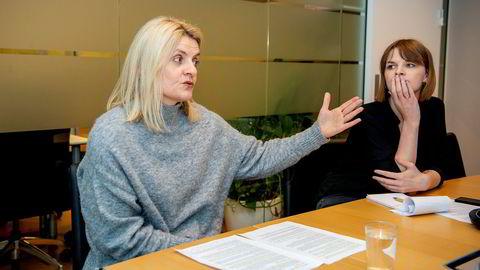 Forbrukerrådets direktør Inger Lise Blyverket (til venstre) mener bankkundene har altfor dårlig vern i dagens regelverk og rettspraksis når de blir utsatt for identitetstyveri ved misbruk av BankID. Her sammen med kommunikasjonsrådgiver Maren Van Buren Struksnæs i Forbrukerrådet.