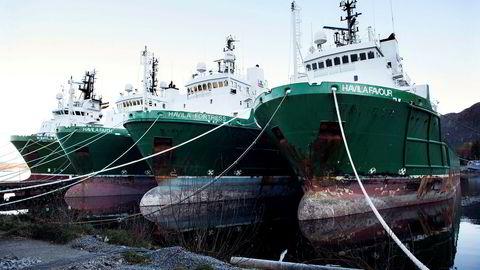 Havila Shipping er blant rederiene som er i forhandlinger med kreditorene. Her fra Moltustranda på Sunnmøre der noen av selskapets offshoreskip ligger i opplag.