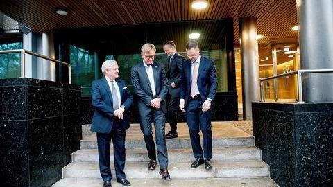 Administrerende direktør Mikkel A. Berg (fra venstre) og styreleder Stig Grimsgaard Andersen i Silver tok imot LGT Capital Partners toppsjefer Tom Haas Carstensen og Pascal Pernet i Oslo mandag.