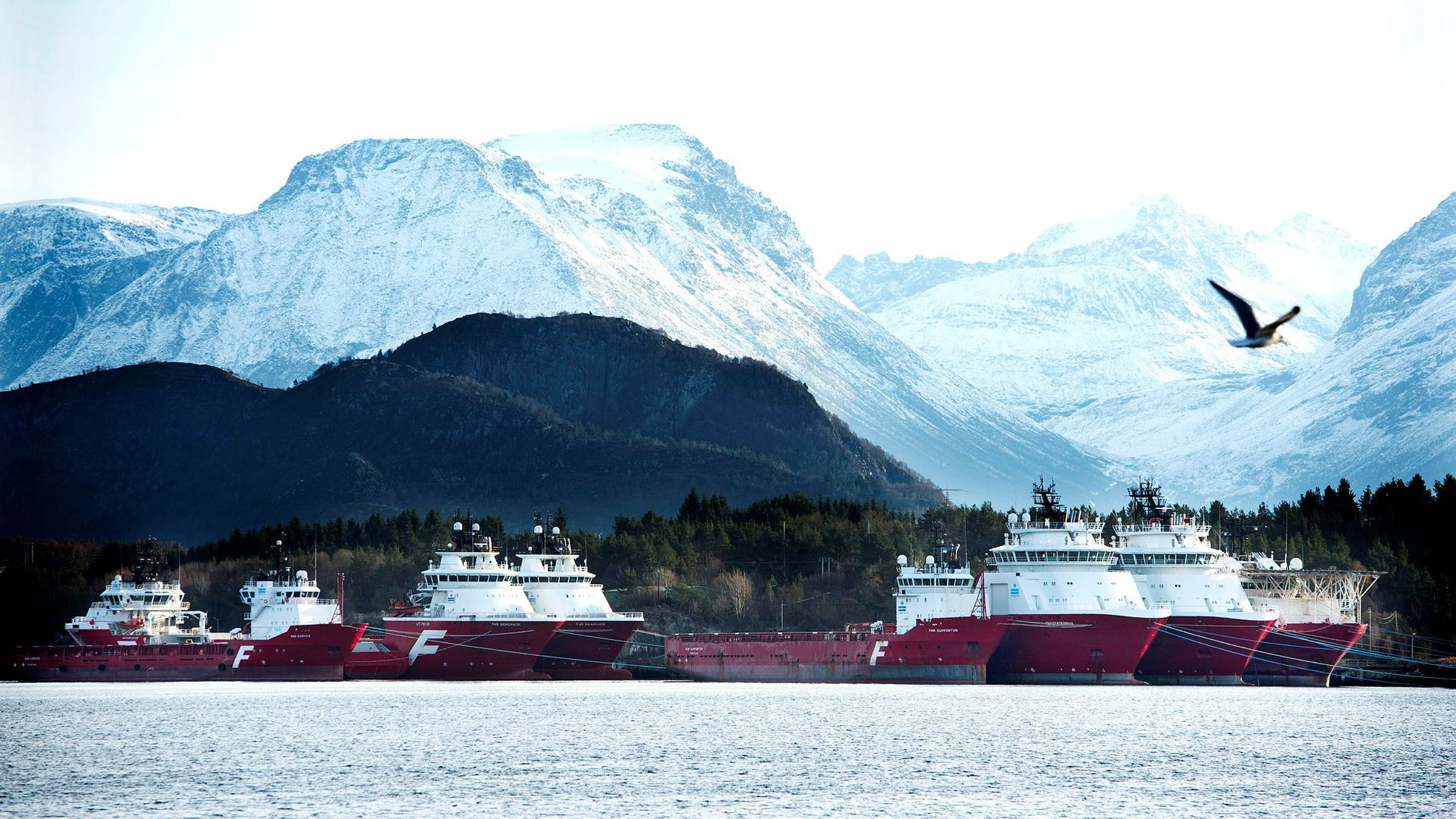 Offshorebåter fra Farstad Shipping i opplag ved Humla utenfor Ålesund.