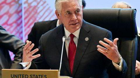 USAs utenriksminister Rex Tillerson i Manila søndag. Der møtte han sin motpart Lavrov for første gang etter sanksjonene.