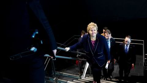 Statsminister Erna Solberg på konferansen Arctic Entrepreneur 2020 på Hotel Clarion på Gardermoen dagen etter at Fremskrittspartiet har bestemt seg for å gå ut av regjeringen.