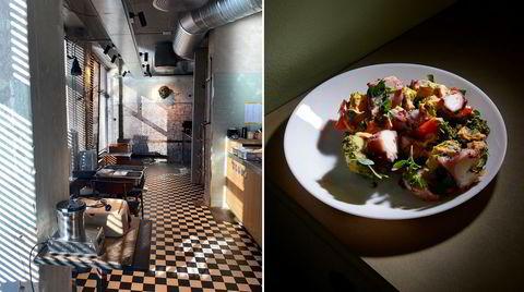 Geita Restaurant fikk en tøff oppstart i høst, men har tilpasset seg koronarestriksjoner og holdt åpent med alkoholfri servering, så lenge det var tillatt i Oslo. Blekksprutsalat fra takeaway-menyen til høyre.