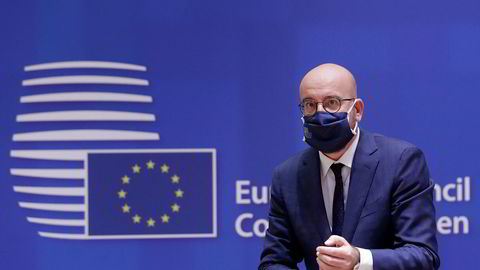 European Council President Charles Michel waits for the start of a round table meeting at an EU summit at the European Council building in Brussels, Thursday, Oct. 1, 2020. European Union leaders are meeting to address a series of foreign affairs issues ranging from Belarus to Turkey and tensions in the eastern Mediterranean. (Olivier Hoslet, Pool via AP)