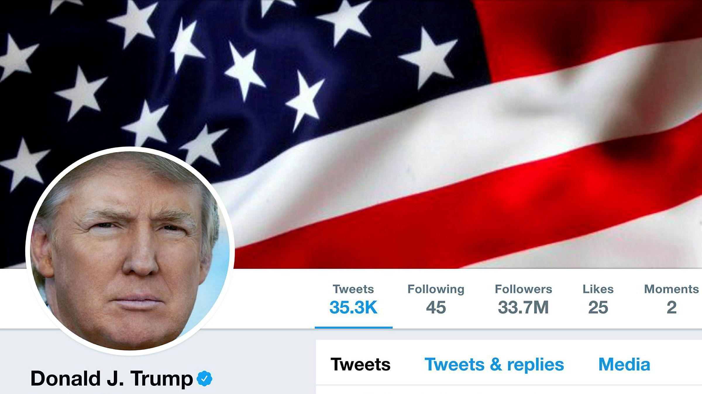 Presidentens twitter-konto ble deaktivert i noen minutter torsdag.