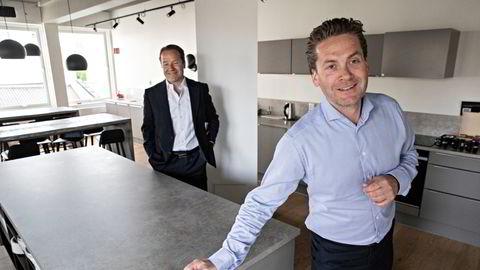 Chief operating officer Lars Erik Grønntun (til venstre) og administrerende direktør Eilert Hanoa i Kahoot i deres kontorer ved Rådhuset.