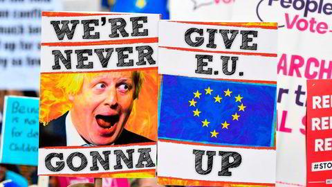 Demonstranter i London i fjor ønsket seg en ny folkeavstemning om EU-medlemskap. Det fikk de ikke.