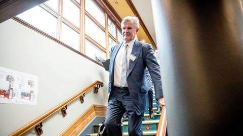 Tor Olav Trøim under Pareto-konferansen der han presentere sitt riggselskap Borr Drilling og rederiet Golar LNG i 2018.