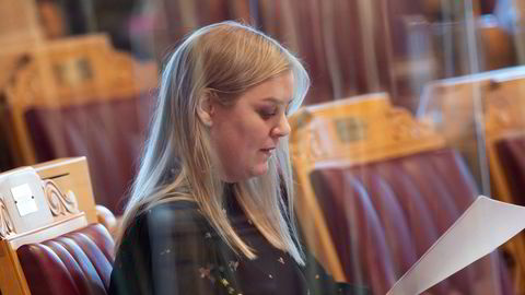 Olje- og energiminister Tina Bru deltok under torsdagens debatt i Stortinget.