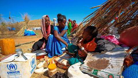 Ethiopiske flyktninger i Um Raquba-leiren i Sudan.