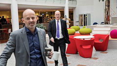 Coop mente Konkurransetilsynets rekordbot var absurd. Her er konsernsjef Geir Inge Stokke sammen med kommunikasjonsdirektør Bjørn Takle Friis (t.v.)