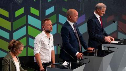 Hvem skal ut? MDG, SV, SP og Ap under partilederdebatt i Arendal 2020.