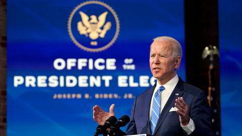 Påtroppende president Joe Biden vil bruke 1.900 milliarder dollar for å gjenreise økonomien i USA etter koronapandemien.