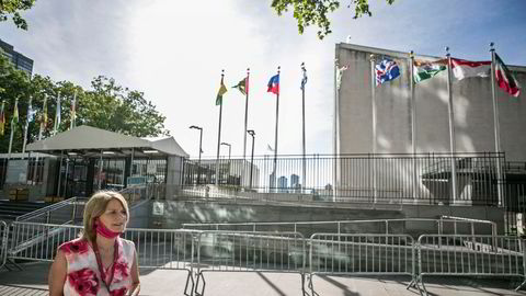 FN-ambassadør Mona Juul på vei inn til å stemme tidligere i år. Det endte med at Norge fikk plass i Sikkerhetsrådet.