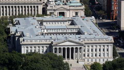 Det amerikanske finansdepartementets bygning i Washington, i et bilde fra 2019. Departementet er rammet av et omfattende hackerangrep, og angriperne skal blant annet hatt tilgang til intern epost.
