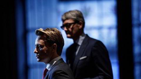 Kristian Røkke, administrerende direktør i Aker Horizons, fratrådte mandag styret i NBT, her med Akers konsernsjef Øyvind Eriksen.