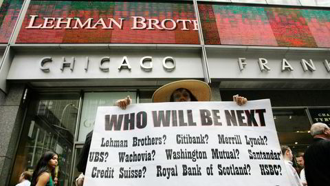 Mandag 15. september 2008 ble jeg kapitalforvalter, skriver Anette Hjertø. Bildet er tatt samme dag utenfor hovedkvarteret i banken Lehman Brothers, som da gikk til skifteretten og ba om konkursbeskyttelse.