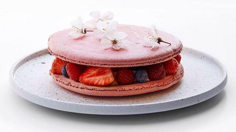 Med inspirasjon fra Kvæfjordkakens smaker og Pierre Hermés elegante kreasjoner blir Sverre Sætres makronkake perfekt til nasjonaldagen.