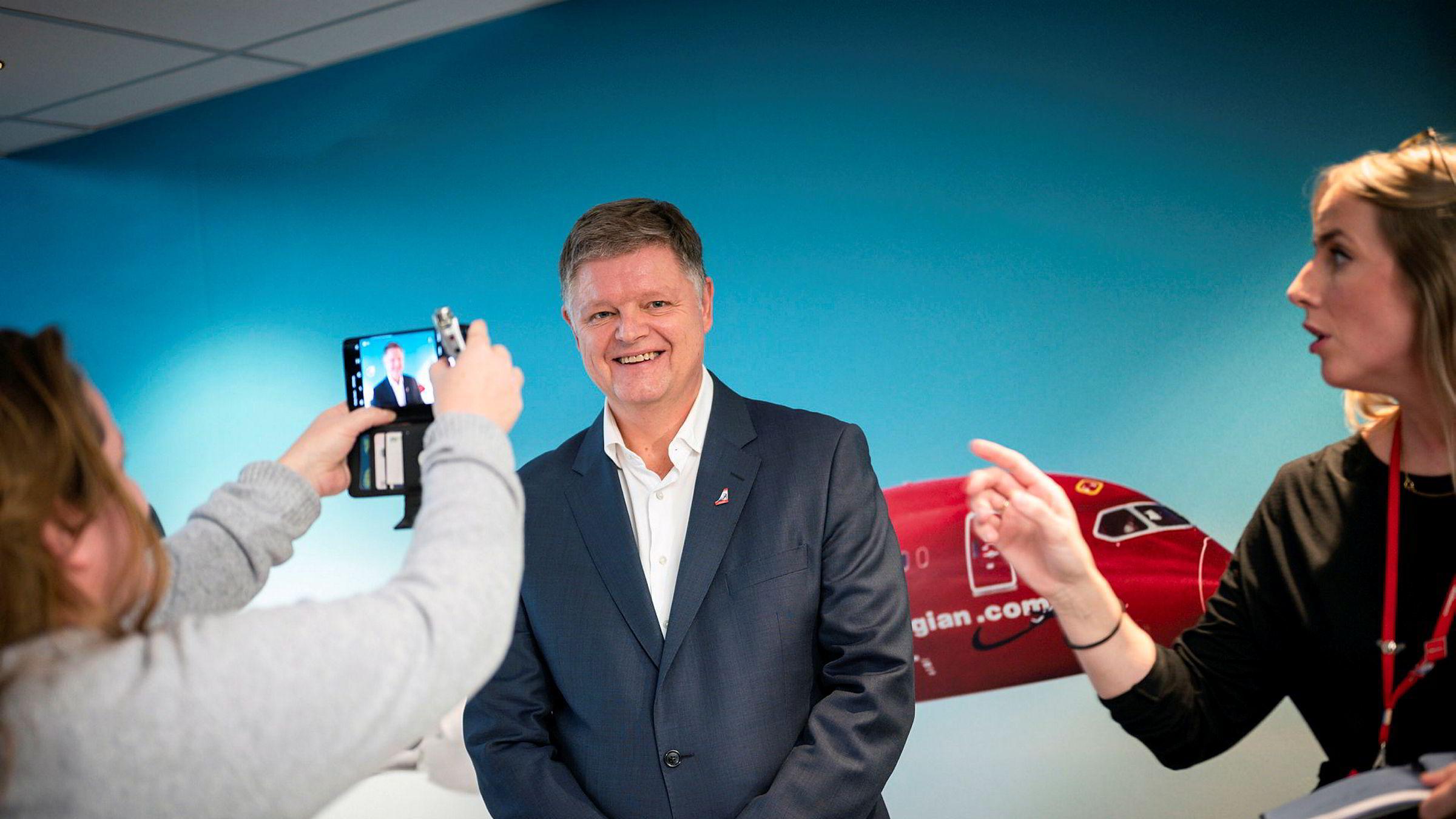 Jacob Schram er ny Norwegian-sjef og møtte pressen på Fornebu tidlig onsdag ettermiddag.