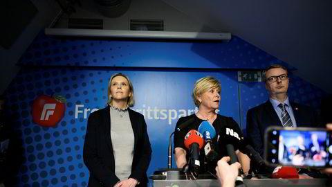 Fremskrittspartiet går ut av dagens regjering varslet Siv Jensen og partiledelsen på en pressekonferanse i dag. Foto: Fartein Rudjord