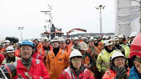 Optimismen er tilbake i norsk oljenæring. Bildet er fra navneseremonien på selveste kvinnedagen i år da den første Spar-plattformen ble døpt Aasta Hansteen-plattformen. i