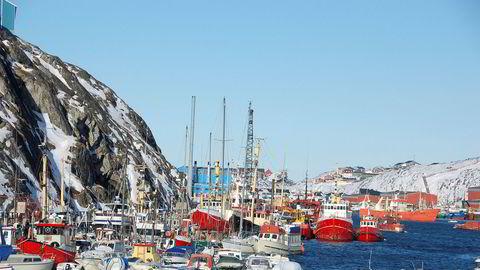 Havnen i Nuuk, tidligere Godthåb, Grønlands hovedstad.