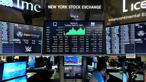 Trader under stengingen av Wall Street 17. mars.