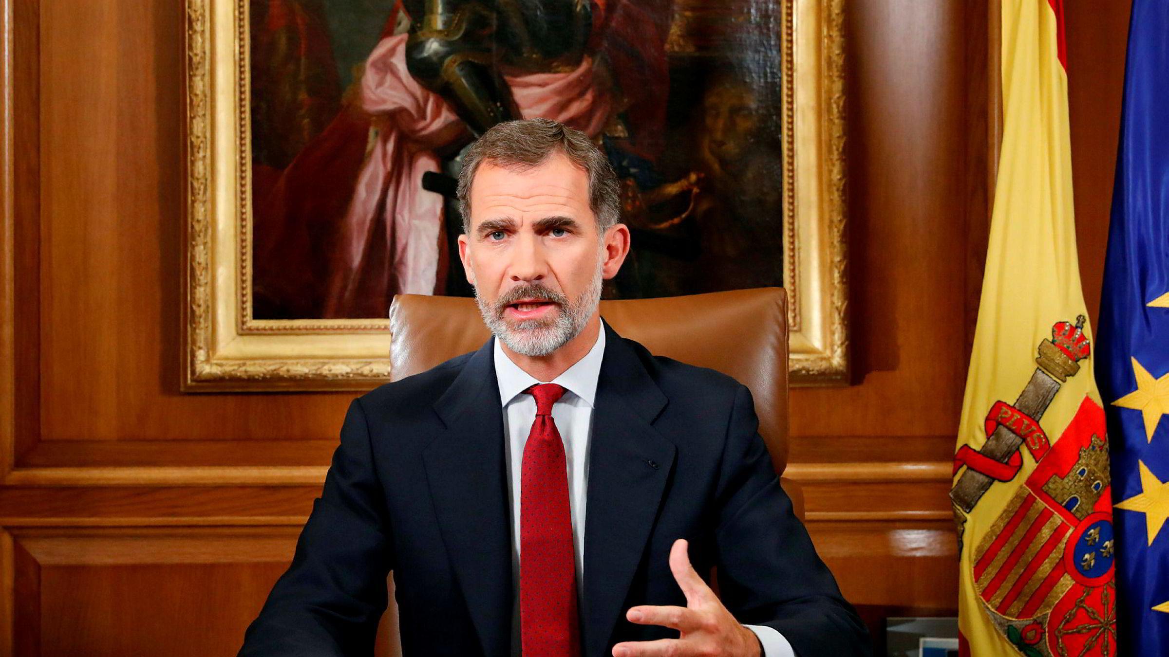 Kong Felipe i en tv-sendt tale i kveld.