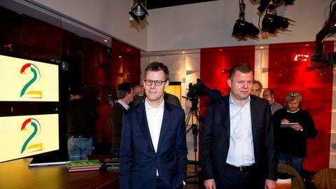 Fra v. konsernsjef i Egmont, Steffen Kragh og konserndirektør i Egmont og styreleder i TV 2, Hans J. Carstensen.