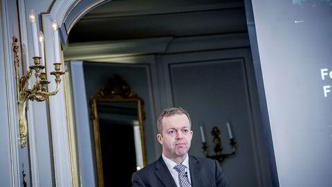 Alf-Helge Aarskog, konsernsjef i Marine Harvest, under en kvartalstallspresentasjon i Oslo tidligere i sommer.