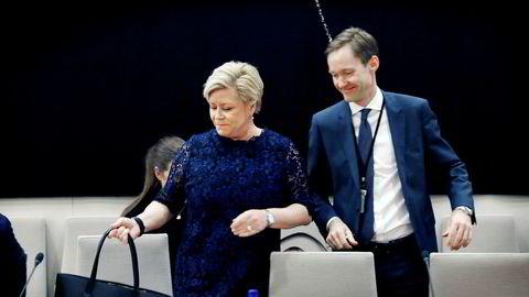 Amund Holmsen er en av toppene i Finansdepartementet hvor Siv Jensen er statsråd.