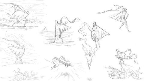 Kritikerrost. Skisser fra utviklingen av eventyrspillet «Journey», laget av Thatgamecompany, viser det kreative arbeidet som ligger bak nye karakterer. Avisen The Guardian ga V&As videospill-utstilling topp karakter.