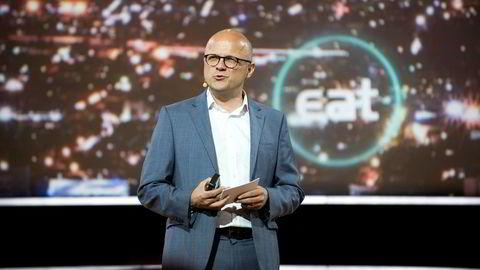 Fra Norge. Miljøvernminister Vidar Helgesen talte på Eat-forum i Stockholm i dag.