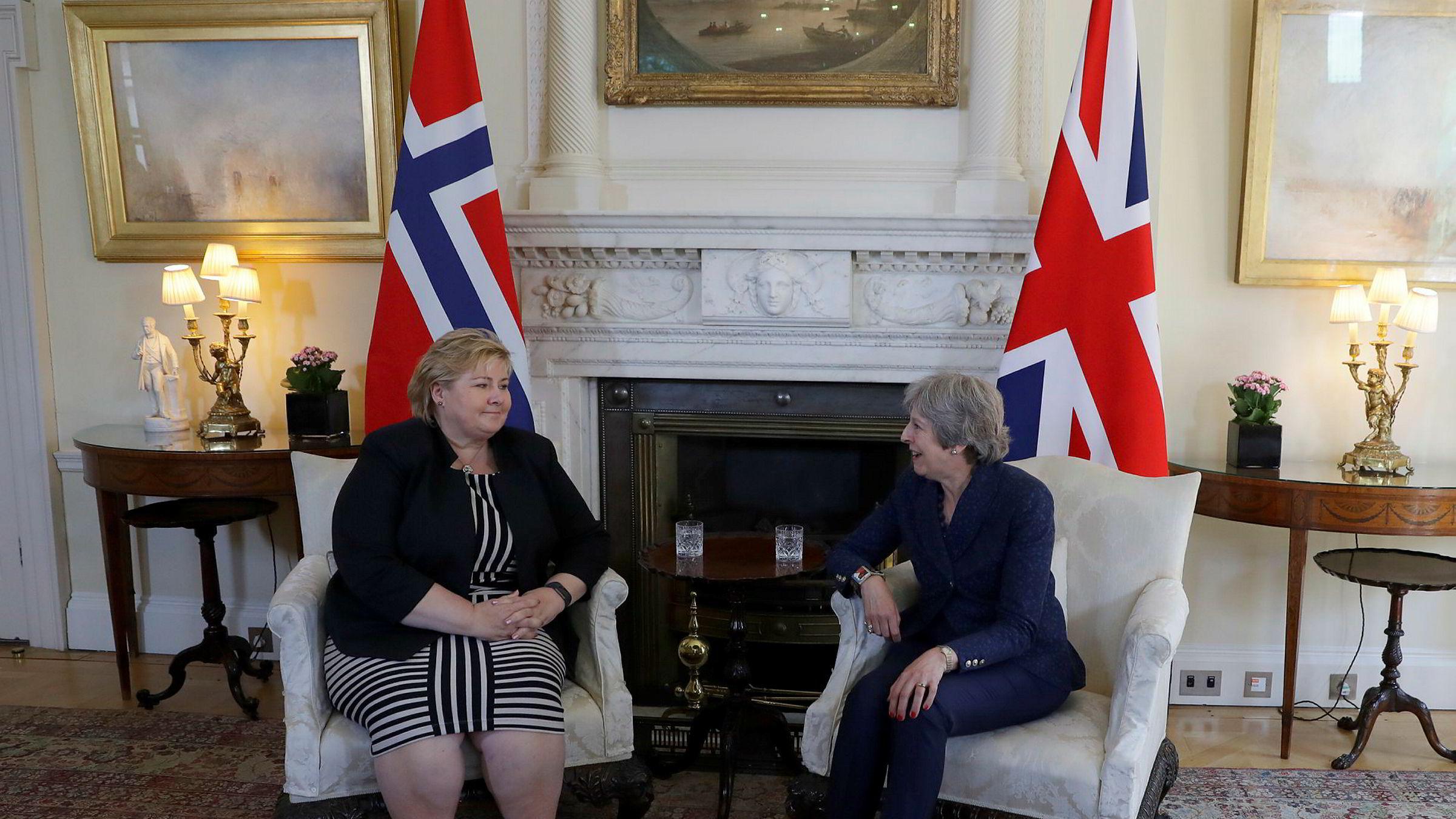 Statsminister Erna Solberg var onsdag på besøk hos Storbritannias statsminister Theresa May i Downing Street.