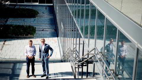 It-gründer John Markus Lervik (til venstre) har startet selskapet Cognite og får Kjell Inge Røkke-kontrollerte Aker som hovedeier. Akers konsernsjef Øyvind Eriksen (til høyre) tror det nye selskapet vil tjene penger på å digitalisere oljebransjen. Her fra Akers hovedkontor på Fornebu i Bærum.