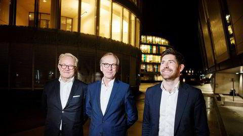 Hitec Vision kjøper nytt oljeselskap. Fra venstre seniorpartner i Hitecvision Gunnar Halvorsen, styreleder i Solveig Gass, Gunnar Olsen, og partner i Hitecvision Bertel Ånestad.