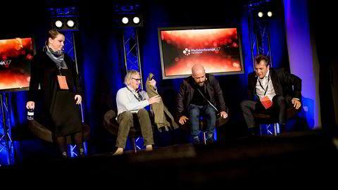 Fra venstre: Maria Aas-Eng, Konsernsjef i Red, Morten Aas, Adm.dir. MTG, Aris Theophilakis, Adm.dir. i Futatsu og Ole Christian Apeland, Adm.dir. i Apeland.