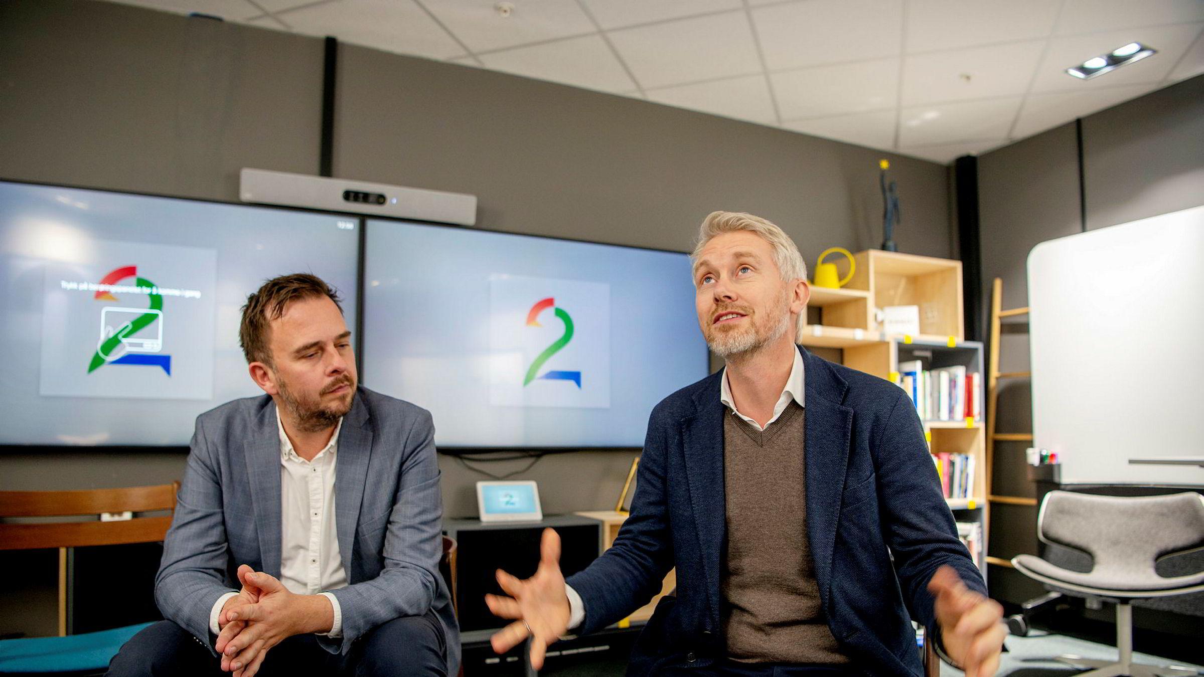 Morten Christoffersen, sjef for Nordisk Film Distribusjon i Norge, og TV 2-sjef Olav T. Sandnes (til høyre) er fornøyd med det nye samarbeidet.