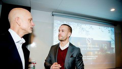 Finansdirektør Scott Danielsen (fra venstre) og administrerende direktør Andreas Martiniussen i Solon Eiendom.
