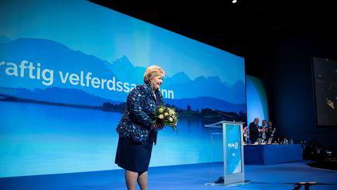 Statsminister Erna Solberg på Høyres landsmøte.
