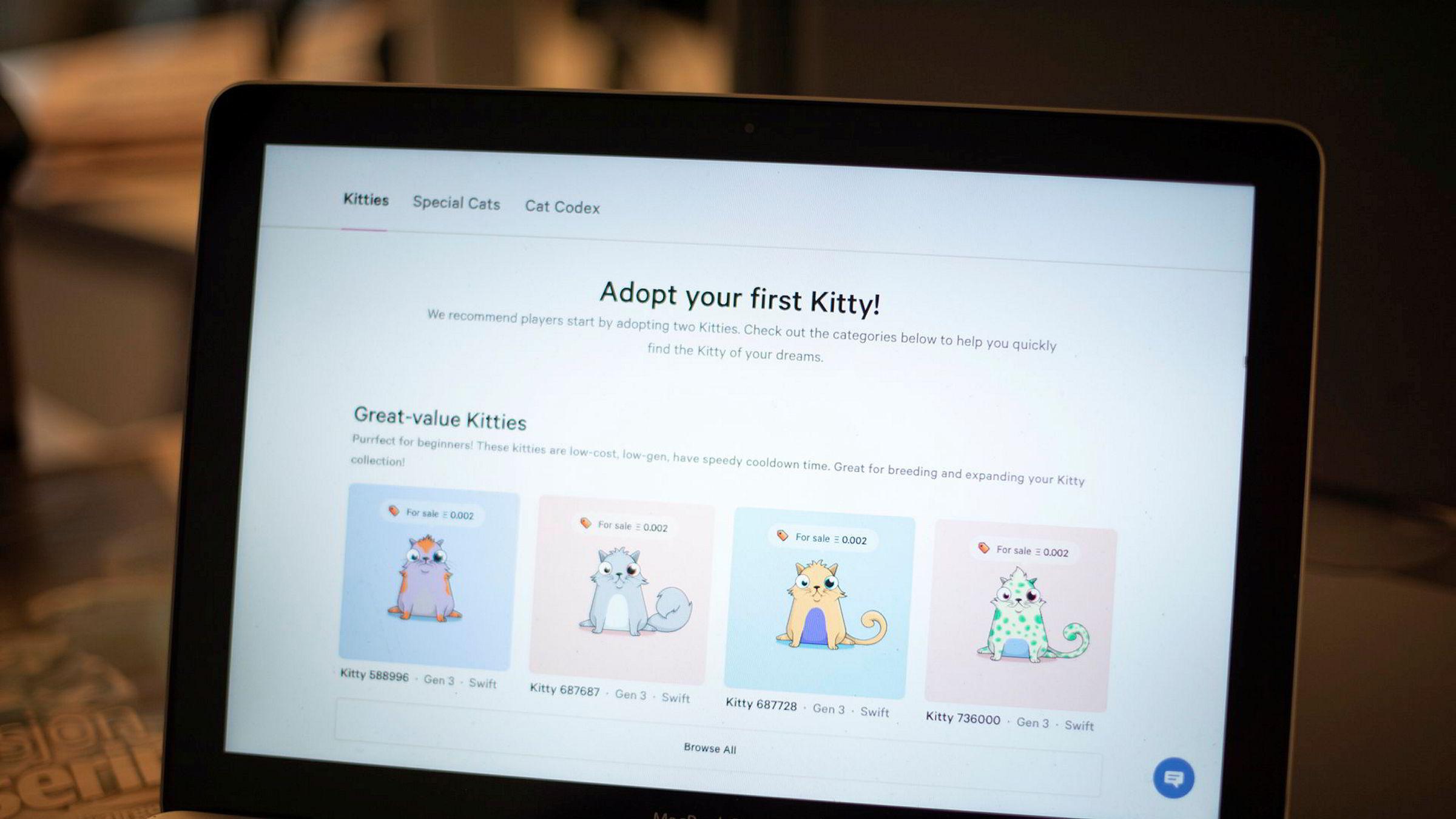 Spillet CryptoKitties kan sammenlignes med digitale klinkekuler eller fotballkort. Siden de er bygget på blokkjede, er hver katt unik og har sitt eget «dna» representert ved en unik kode, skriver artikkelforfatteren.
