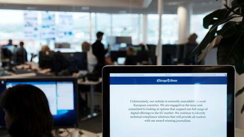Den amerikanske avisen Chicago Tribune er en av de amerikanske avisene som nå sperrer europeiske brukere ute.