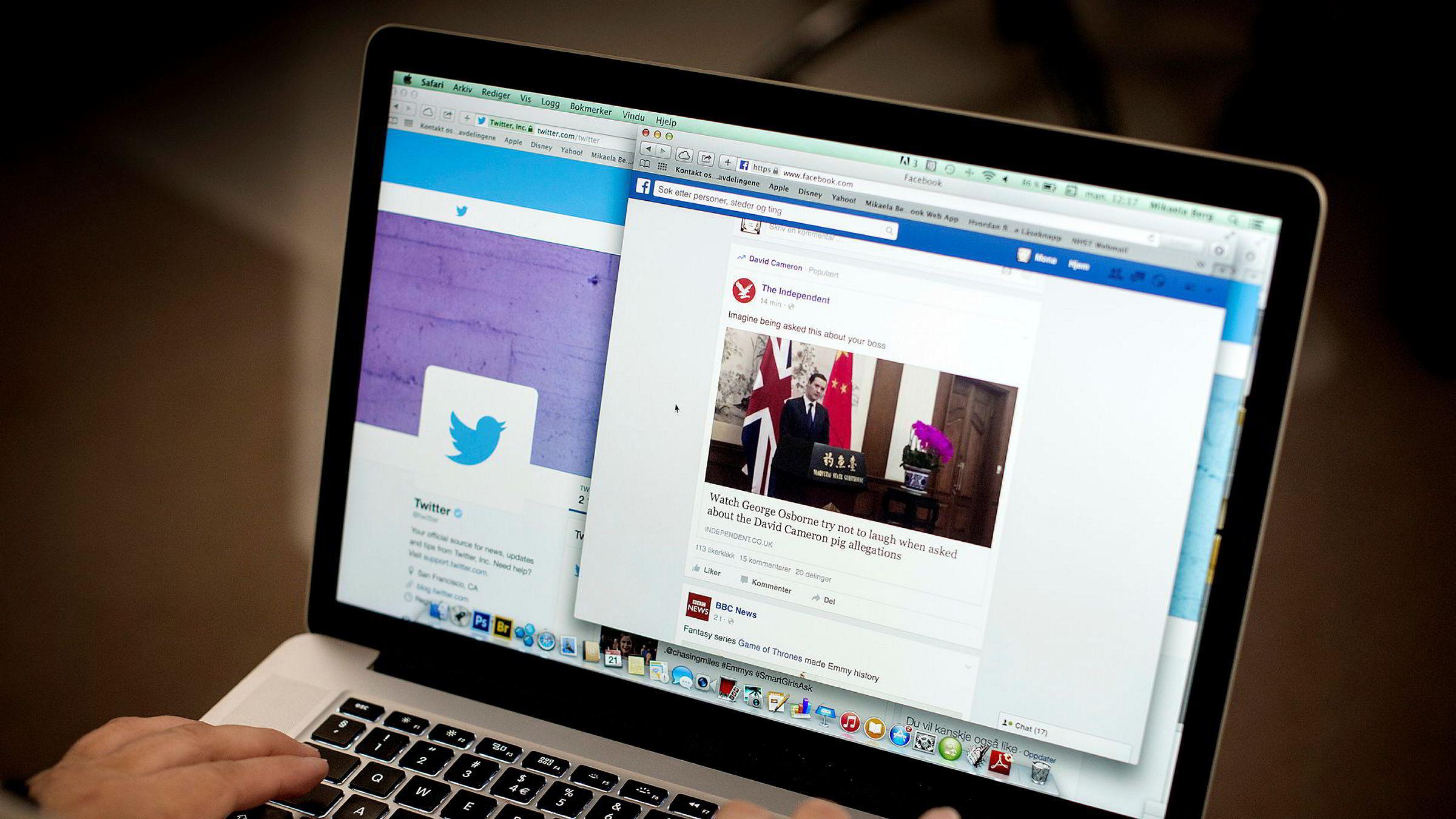 Både Twitter og Facebook er, i likhet med mange andre nettsteder, blokkert i Kina.