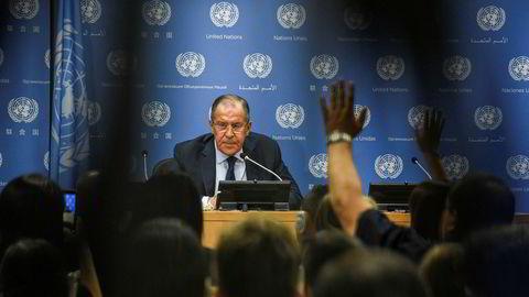 Russlands utenriksminister Sergej Lavrov på pressekonferanse i FN i New York.