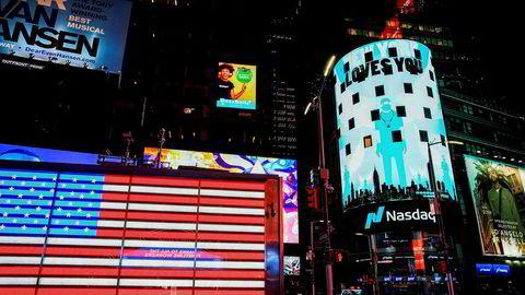 Teknologibørsen Nasdaq avsluttet uken sterkest. Her Nasdaq-bygningen på Times Square på Manhattan i New York.