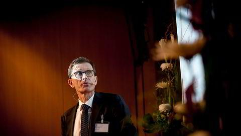 Torbjørn Hægeland, direktør for finansiell stabilitet i Norges Bank, under et fagseminar i sentralbanken tirsdag.