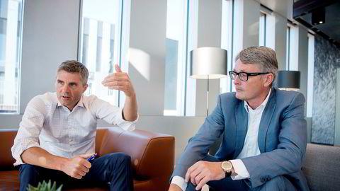 John Markus Lervik, gründer av Cognite, og Øyvind Eriksen konsernsjef Aker asa. Lervik skal digitalisere sokkelen for Aker.