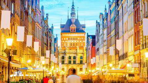 Besøket på nattklubb i Gdansk ble en kostbar affære for nordmannen. Etter en time var han 46.000 kroner fattigere. Dette bildet er fra den polske byens hovedgate.