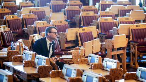 KrF-leder Kjell Ingolf Ropstad (KrF) i den ordinære spørretime på stortinget.